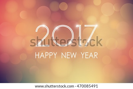 Shutterstock happy new year 2017 with bokeh and lens flare pattern in vintage color style background (vector)