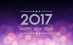 Happy new year 2017 with bokeh and lens flare pattern on dark purple color blurred background (vector)