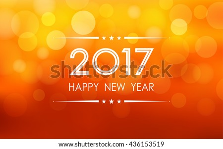 stock-vector-happy-new-year-with-bokeh-and-lens-flare-pattern-on-summer-orange-color-background-vector