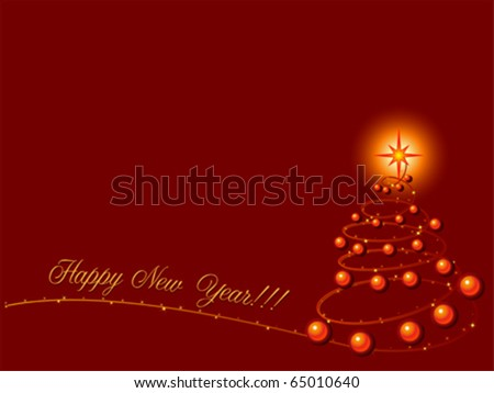 Happy New Year with Christmas with tree. Blank greeting card template, vector
