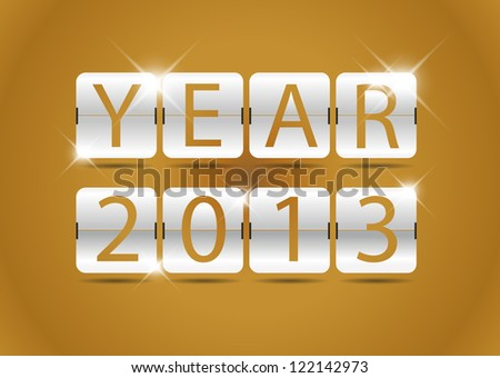 happy new year 2013 with clock flip style