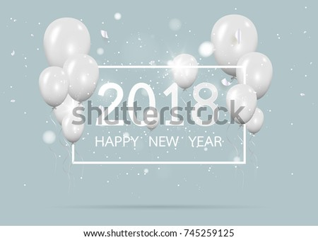 happy new year 2018 with creative gray balloon concept on pastel pink background for copy space