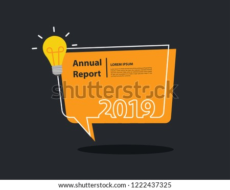 happy new 2019 year with creative light bulb and speech bubble background flyers trendy flat
