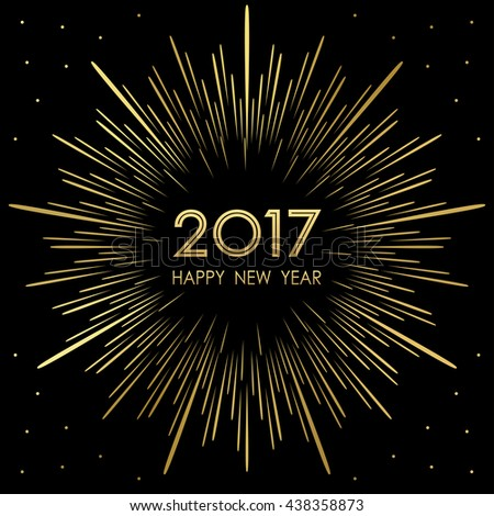 happy new year 2017 with golden