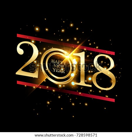 happy new year 2018 with golden glitter on black background text design gold colored