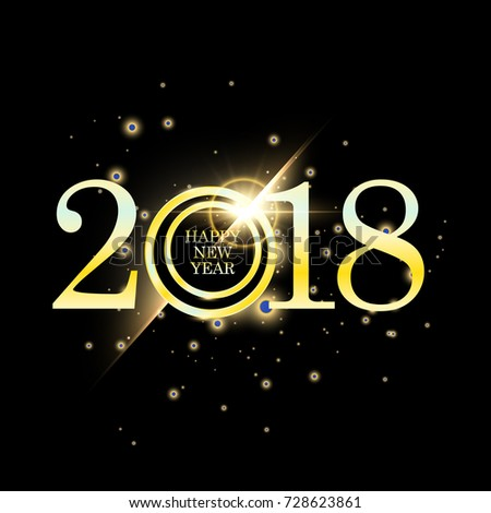 happy new year 2018 with golden glitter particle text design gold colored vector elements for calendar and greeting card ez canvas