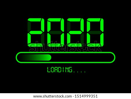 Happy new year 2020 with loading icon in flat green led neon digital time style. Progress bar almost reaching new year's eve. Vector illustration with display 2020 loading isolated or black background