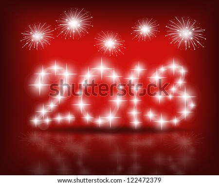 happy new year 2013 with red starry firework vector illustration