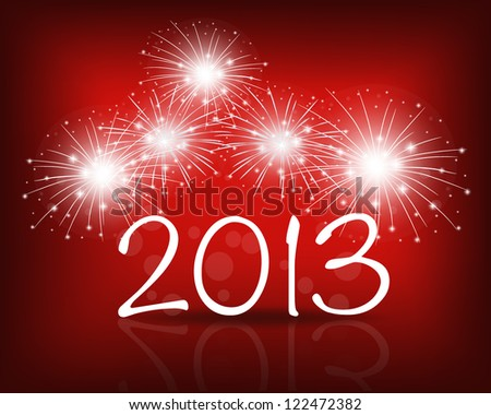 Happy new year 2013 with Red starry firework, vector illustration.