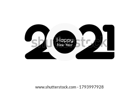 Happy New Year 2021 With the white background, 2021 Black text white Color Background - Happy New Year 2021– New Year 2021 black text white Background vector illustration