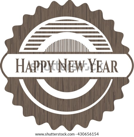 Happy New Year wood emblem. Vintage.