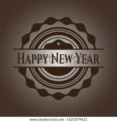 Happy New Year wood signboards. Vector Illustration.