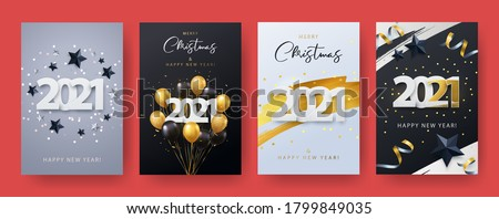 Happy New Year 2021. Xmas vector illustration of paper cut 2021 with sparkling confetti, silver and black stars, gold and black realistic 3d flying balloons, golden brush stroke. Template Set