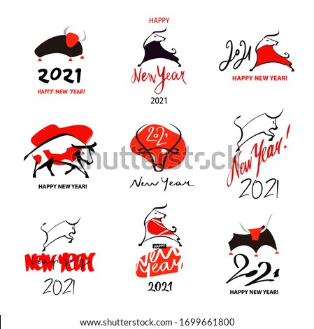 Happy New Year 2021. Year of Bull, Ox Taurus. Chinese lunar zodiac symbol of 2021. Vector illustration. Template elemrnt design poster, banner, flyer, isolate logo with face, head, silhouette bull.
