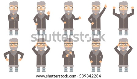 Happy north man giving thumb up. Smiling bearded north man with thumb up. Cheerful north man in sheepskin coat showing thumb up. Set of vector flat design illustrations isolated on white background.