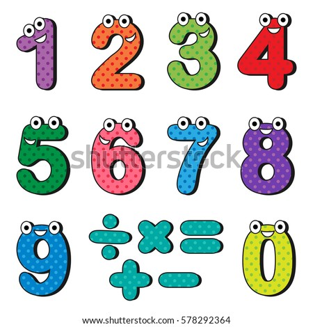 Happy numbers cartoon characters. Vector illustration