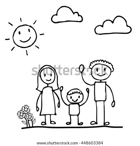 Happy Of Family Cartoon Character Doodle Hand Drawing Style 448603384