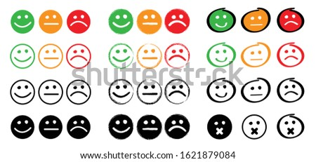 Happy oke neutral and unhappy emoji smile face Vector unlike, dislike or like icons Funny gets symbols Do Don't or dont Okey Thumb up thumbs down Super good or bad Okay evaluation communicate ストックフォト ©