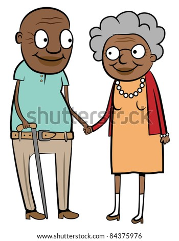 Happy old black couple holding hands, vector illustration