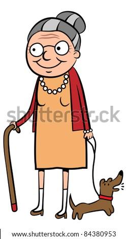 Happy old cartoon woman walking her dog, vector illustration - stock ...