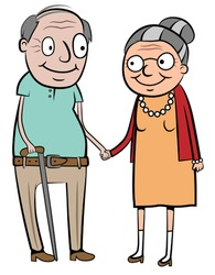 Happy old couple holding hands, vector illustration