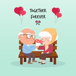 Happy old couple.vector illustration