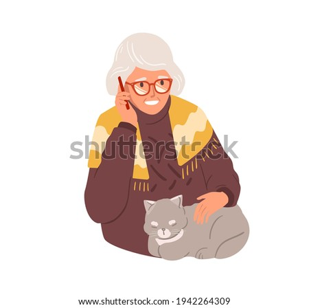 Happy old woman talking on mobile phone. Granny calling by smartphone. Grandma in glasses using cellular. Colored flat vector illustration of aged lady and cellphone isolated on white background