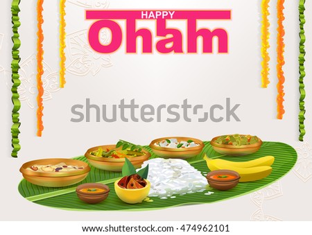 Happy Onam. Food for hindu festival in Kerala. Template vector illustration for greeting card