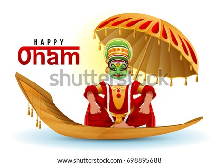 happy onam greeting card hindu