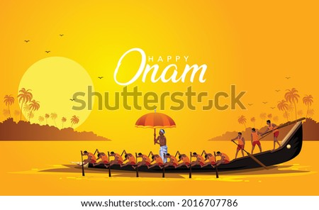 happy onam Kerala boat race competition. vector illustration design