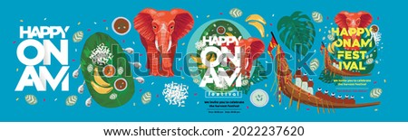 Happy Onam. Religious festival of South India Kerala. Vector illustration of indian boat, traditional leaf food,  elephant and text. Drawings for poster, background or cover