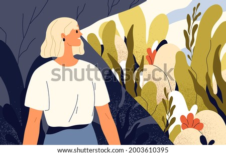 Happy optimist focusing on good, seeing life from positive outlook in favorable light. Psychological concept of optimism and optimistic mindset. Woman ignoring bad. Colored flat vector illustration Foto stock ©
