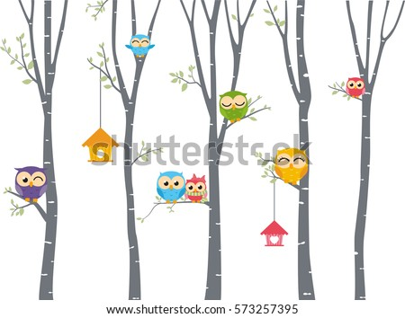 happy owl background with tree