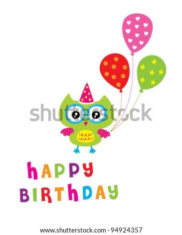 Happy owl birthday party invitation card ez canvas happy owl birthday party invitation card filmwisefo