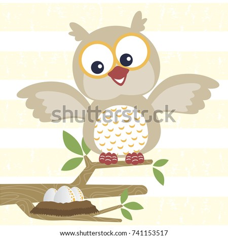 happy owl with his eggs on a