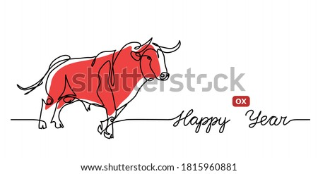 Happy ox Year simple vector banner, background. Chinese new year 2021 concept with red cow, bull. One continuous line drawing with text Happy ox Year.