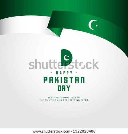 Happy Pakistan Day Vector Template Design Illustration