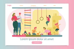 Happy Parent and Cheerful Children Playing in Bedroom. Landing Page Responsive Design. Family of Many Kid Recreation. Development and Education for Young Boy and Girl. Vector Illustration