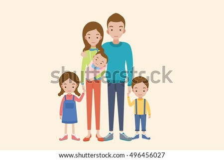 Happy parents and kids. Mother and father with children.