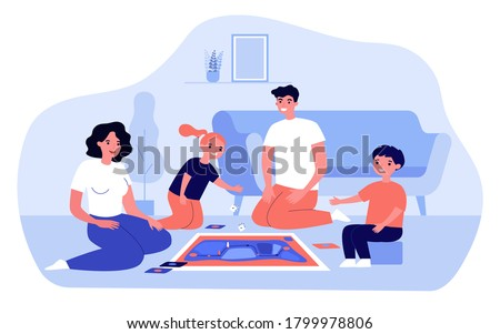 Happy parents and kids playing board game at home. Couple with two teenage children enjoying fun time in living room. For family entertainment, leisure, parenthood concept