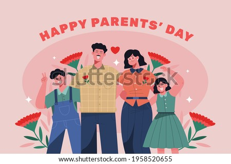Happy Parents day. 8 May.  background poster. vector illustration . Korean Translation: Parents Day Event