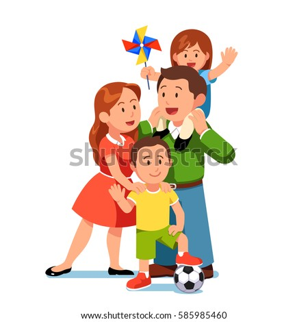 Happy parents mom and dad standing together with kids girl and boy. Little daughter sitting on father shoulders waving hands holding pinwheel. Loving family. Flat style modern vector illustration.