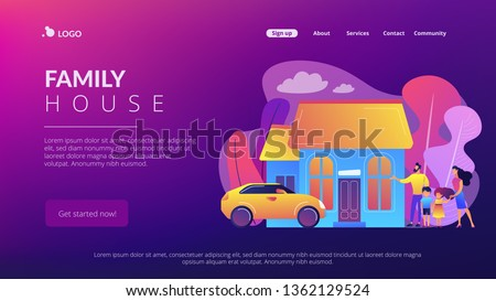 Happy parents with children and detached house. Single-family detached home, family house, detached residence and single dwelling unit concept. Website vibrant violet landing web page template.