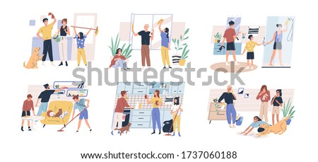 Happy parents with children cleaning rooms and windows. Family doing housework together. Spring cleaning. Set of scenes isolated on white background. Vector illustration in flat cartoon style