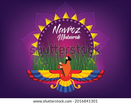 Happy Parsi New Year Vector Illustration Background. Navroz Mubarak Greeting Card Design. Photo stock ©