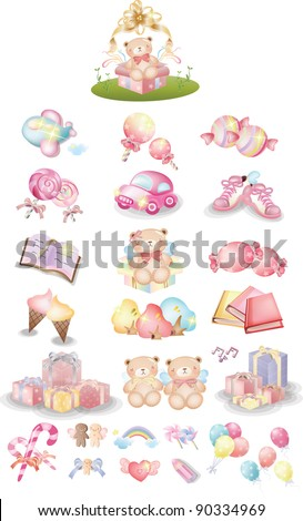 Happy Party for Cute little Baby - joyful pink collection, sweet foods, colorful ornaments and surprised presents on anniversary for lovely kids isolated on white background : vector illustration set