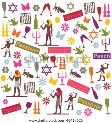 HAPPY PASSOVER GREETING CARD. Set of vector illustration icons and symbols for the holiday.