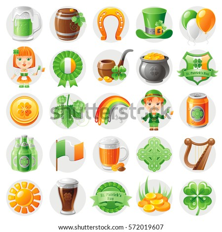 happy patrick day icon set