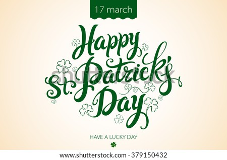 happy patrick day vintage lettering background art
