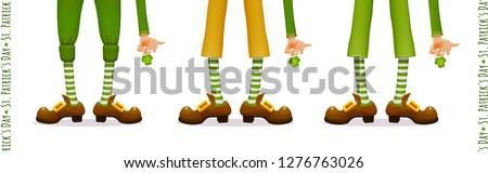 Happy Patrick's Day, leprechaun's feet, leprechaun's hands with clover Shamrock, set for festive Irish national holiday design, isolated object, vector illustration
